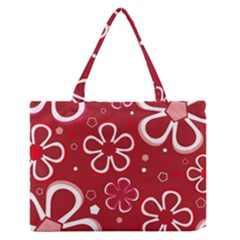 Flower Red Cute Medium Zipper Tote Bag by AnjaniArt