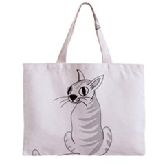 White Cat  Zipper Mini Tote Bag by Valentinaart