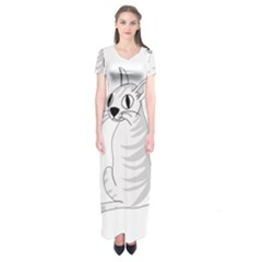 White Cat  Short Sleeve Maxi Dress by Valentinaart