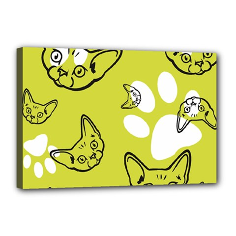 Face Cat Green Canvas 18  X 12  by AnjaniArt