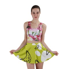 Face Cat Green Mini Skirt by AnjaniArt