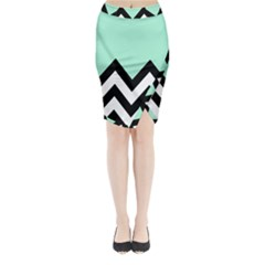 Mint Green Chevron Midi Wrap Pencil Skirt by AnjaniArt