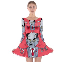 Monster Rubiobot Long Sleeve Skater Dress by AnjaniArt