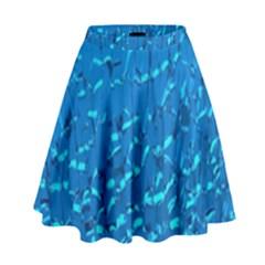 Shattered Blue Glass High Waist Skirt by AnjaniArt