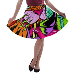 Tiger Lion A Line Skater Skirt by AnjaniArt