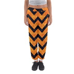Chevron9 Black Marble & Orange Marble (r) Women s Jogger Sweatpants by trendistuff