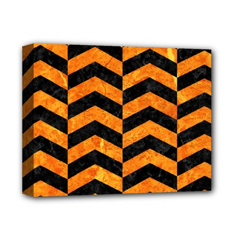 Chevron2 Black Marble & Orange Marble Deluxe Canvas 14  X 11  (stretched) by trendistuff