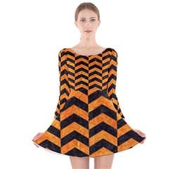 CHV2 BK-OR MARBLE Long Sleeve Velvet Skater Dress by trendistuff