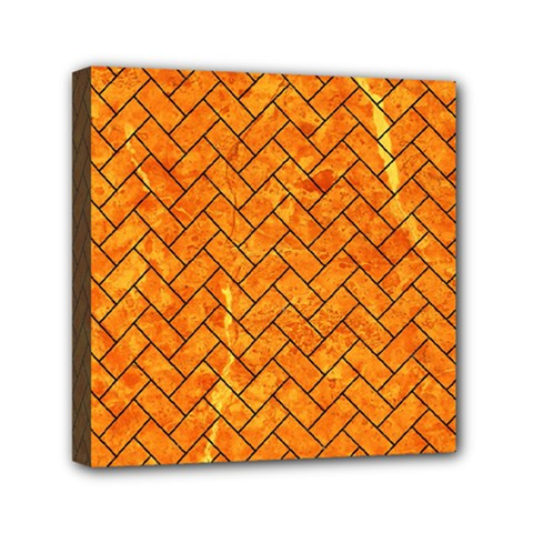 Brick2 Black Marble & Orange Marble (r) Mini Canvas 6  X 6  (stretched) by trendistuff