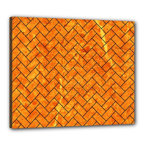 Brick2 Black Marble & Orange Marble (r) Canvas 24  X 20  (stretched) by trendistuff