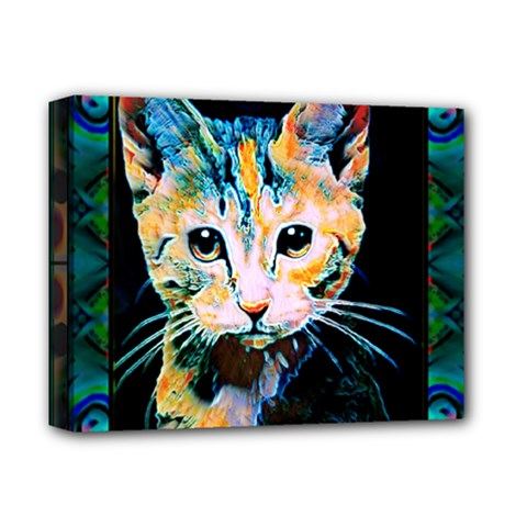 Arty Cat Montage Deluxe Canvas 14  X 11  (framed) by wbk1