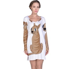 Brown Cat Long Sleeve Nightdress