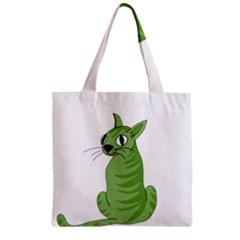 Green Cat Zipper Grocery Tote Bag by Valentinaart