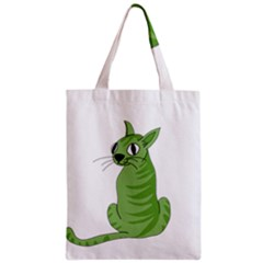 Green Cat Zipper Classic Tote Bag by Valentinaart