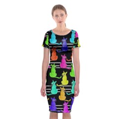 Colorful Cats Pattern Classic Short Sleeve Midi Dress by Valentinaart