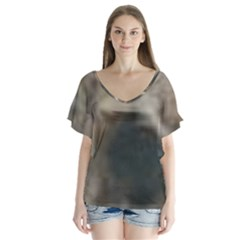 Whippet Brindle Eyes  Flutter Sleeve Top by TailWags