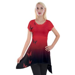 Lepidopteran Short Sleeve Side Drop Tunic