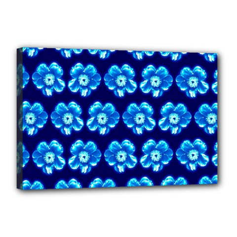 Turquoise Blue Flower Pattern On Dark Blue Canvas 18  X 12  by Costasonlineshop