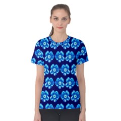Turquoise Blue Flower Pattern On Dark Blue Women s Cotton Tee