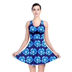 Turquoise Blue Flower Pattern On Dark Blue Reversible Skater Dress