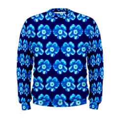 Turquoise Blue Flower Pattern On Dark Blue Men s Sweatshirt by Costasonlineshop