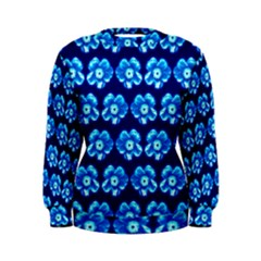 Turquoise Blue Flower Pattern On Dark Blue Women s Sweatshirt