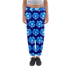 Turquoise Blue Flower Pattern On Dark Blue Women s Jogger Sweatpants
