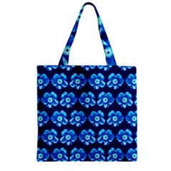 Turquoise Blue Flower Pattern On Dark Blue Zipper Grocery Tote Bag by Costasonlineshop