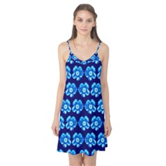 Turquoise Blue Flower Pattern On Dark Blue Camis Nightgown