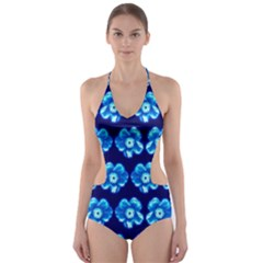 Turquoise Blue Flower Pattern On Dark Blue Cut Out One Piece Swimsuit