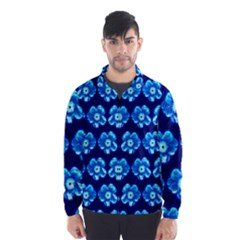 Turquoise Blue Flower Pattern On Dark Blue Wind Breaker (men) by Costasonlineshop