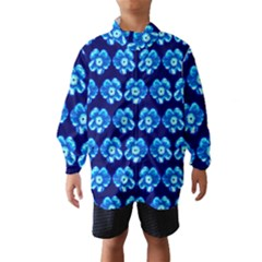Turquoise Blue Flower Pattern On Dark Blue Wind Breaker (kids)