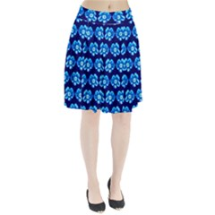 Turquoise Blue Flower Pattern On Dark Blue Pleated Skirt by Costasonlineshop