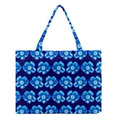 Turquoise Blue Flower Pattern On Dark Blue Medium Tote Bag by Costasonlineshop