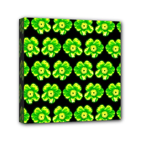Green Yellow Flower Pattern On Dark Green Mini Canvas 6  X 6  by Costasonlineshop