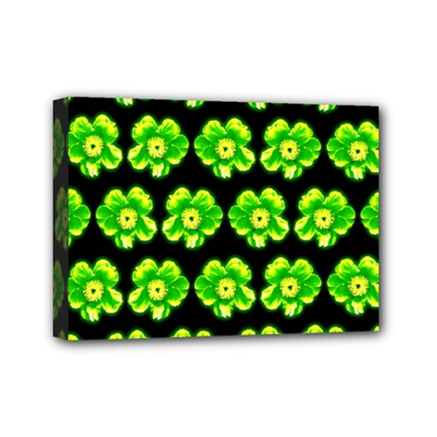 Green Yellow Flower Pattern On Dark Green Mini Canvas 7  X 5  by Costasonlineshop
