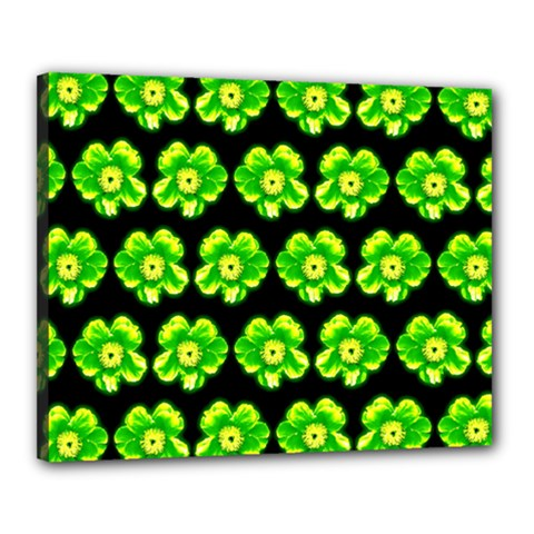 Green Yellow Flower Pattern On Dark Green Canvas 20  X 16  by Costasonlineshop
