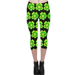 Green Yellow Flower Pattern On Dark Green Capri Leggings