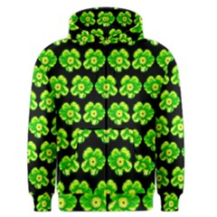 Green Yellow Flower Pattern On Dark Green Men s Zipper Hoodie by Costasonlineshop