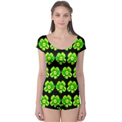 Green Yellow Flower Pattern On Dark Green Boyleg Leotard
