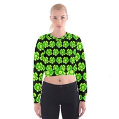 Green Yellow Flower Pattern On Dark Green Women s Cropped Sweatshirt by Costasonlineshop