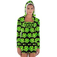 Green Yellow Flower Pattern On Dark Green Women s Long Sleeve Hooded T Shirt
