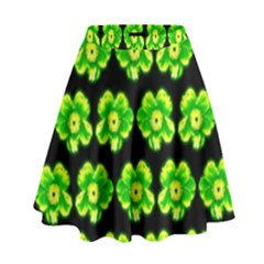 Green Yellow Flower Pattern On Dark Green High Waist Skirt