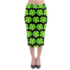 Green Yellow Flower Pattern On Dark Green Midi Pencil Skirt by Costasonlineshop