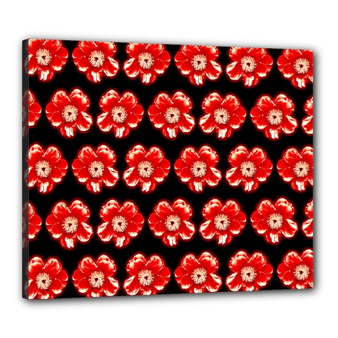 Red  Flower Pattern On Brown Canvas 24  X 20  by Costasonlineshop