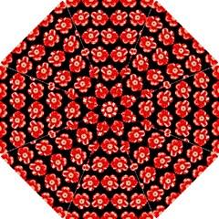 Red  Flower Pattern On Brown Hook Handle Umbrellas (small)