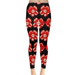 Red  Flower Pattern On Brown Leggings  by Costasonlineshop
