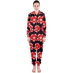 Red  Flower Pattern On Brown Hooded Jumpsuit (ladies)