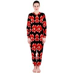 Red  Flower Pattern On Brown Onepiece Jumpsuit (ladies)
