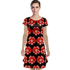Red  Flower Pattern On Brown Cap Sleeve Nightdress